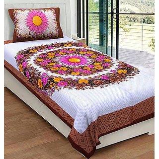 Pahuja Creation Rajwada Diwaan Set Cotton 1 Single Bedsheet with 1 Pillow Cover