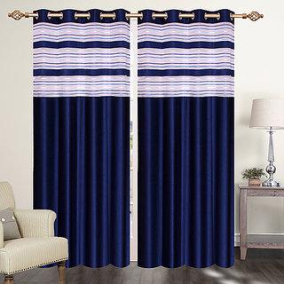 Furnishing Zone Polyester navy Blue Curtain Set of 2 (9FZNWCRTN001)
