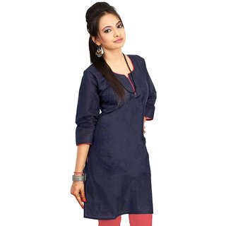 Blue Plain Cotton Stitched Kurti