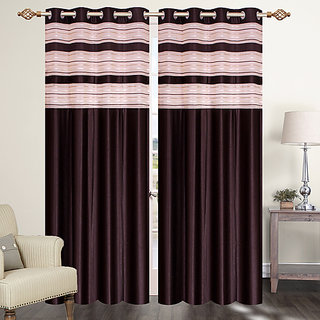 Furnishing Zone Polyester Brown Curtain Set Of 2 (9FZNWCRTN002)