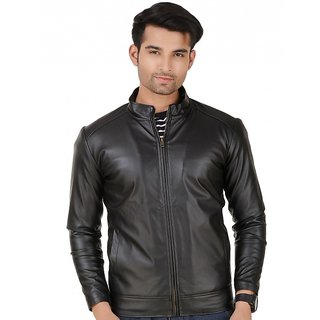 Biker solid Black Leather jacket