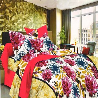 Welhouse Flowers and Leaves Cotton King Size Bedsheet  2 Pillow CoversEPA-19