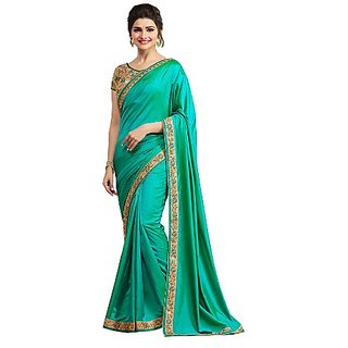 42167913db0056 New Designer Saree Paper Silk lace Border Sea Green Color Party Wear Saree  .280 zee