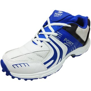 Port Mens Razzer White Cricket Studed Sports Shoes