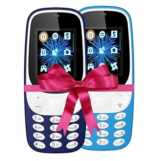 Combo of IKall K3310 (Dual Sim, 1.8 Inch Display, 800 Mah Battery, Made In India, Blue and Sky Blue)