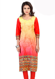 Admyrin Beauteous Yellow & Red Printed Kurti