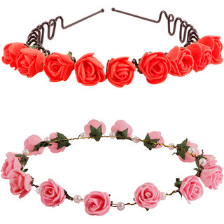 Style Tweak Red Zigzag Hairband Tiara and Pink Princess Crown