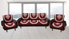 Choco Creation Daimond mahroon Velvet sofa cover (10pcs) 5 seter