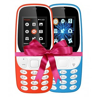 Combo of IKall K3310 (Dual Sim, 1.8 Inch Display, 800 Mah Battery, Made In India, Red and Sky Blue)