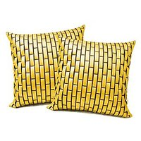 Zikrak Exim Yellow Leather Bricks Cushion Cover (2 Pcs Set)