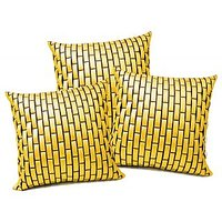 Zikrak Exim Yellow Leather Bricks Cushion Cover (3 Pcs Set)