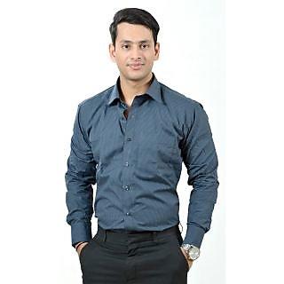Dennison Blackberry Dark Grey Black Checkered Mens Formal Shirt