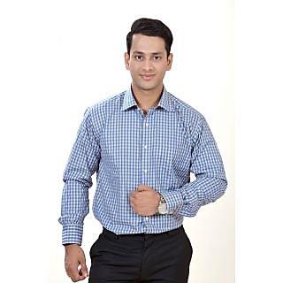 Dennison Exclusive Beige Blue Checkered Mens Formal Shirts