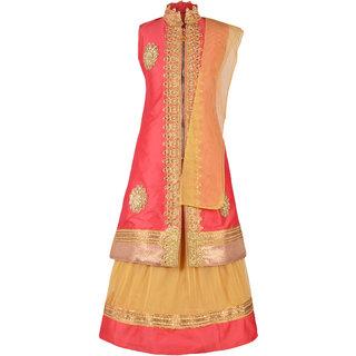 Aarika Girl's Embroidered Long Jacket, Lehenga And Dupatta Set
