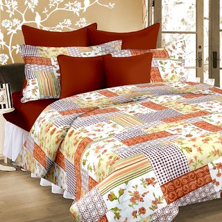 Welhouse India 100  Cotton Double Bed Sheet with 2 Pillow Cover - TC-140 MTR-008