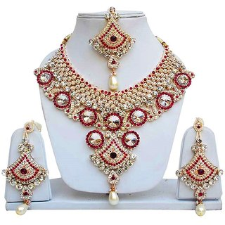 Jewels Gehna Alloy Party Wear  Wedding Fashionable Golden  Necklace Set  Earring With MaangTikka Set For Women  Girls