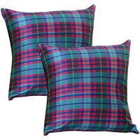 Home Kouture CheckMate Purple-Blue Cushion cover (16 by 16)