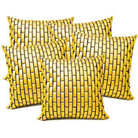 Zikrak Exim Yellow Leather Bricks Cushion Cover (5 Pcs Set)