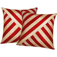 Zikrak Exim Oblique Design Cushion Cover Red & Beige (2 Pcs Set)