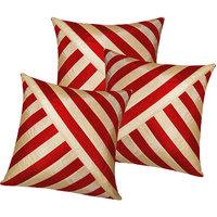 Zikrak Exim Oblique Design Cushion Cover Red & Beige (3 Pcs Set)