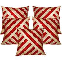 Zikrak Exim Oblique Design Cushion Cover Red & Beige (5 Pcs Set)