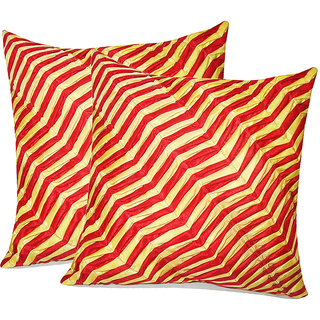 Zikrak Exim Zig Zag Pintucks Cushion Cover Red & Yellow (2 Pcs Set)