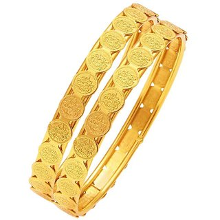 Penny Jewels Alloy Party Wear Fashion Designer Latest Golden Bangles Set For Women  Girls (Pack Of 2)