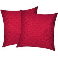 Zikrak Exim Square Quilting Cushion Cover Maroon (2 Pcs Set)