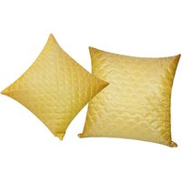 Zikrak Exim Square Quilting Cushion Cover Yellow (2 Pcs Set)