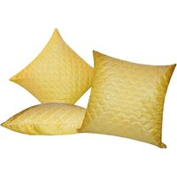 Zikrak Exim Square Quilting Cushion Cover Yellow (3 Pcs Set)