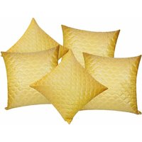 Zikrak Exim Square Quilting Cushion Cover Yellow (5 Pcs Set)