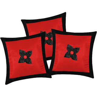 Zikrak Exim Button Flower Cushion Cover Red & Black (3 Pcs Set)