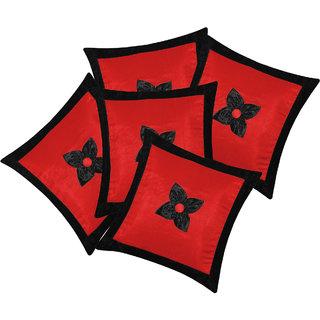 Zikrak Exim Button Flower Cushion Cover Red & Black (5 Pcs Set)