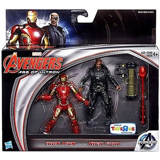 Marvel Avengers Age of Ultron Movie, Exclusive Iron Man and Nick Fury Action Figures, 3.75 Inches