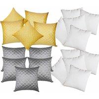 Zikrak Exim Square Quilting Combo Yellow & Grey (20 Pcs Set)