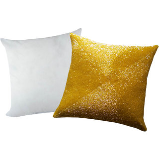 Zikrak Exim Yellow Beaded Cushion With Filler (2 Pcs Set)