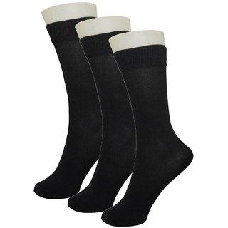 Tahiro Black Premium Cotton Formal Mid Length Socks -  Pack Of  3