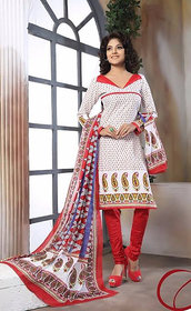 Urishilla Summer Special Pure Cotton Ivory and red Printed Suit (Unstitched)
