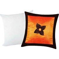 Zikrak Exim Button Flower Cushion With Filler Orange & Brown (2 Pcs Set)