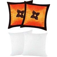 Zikrak Exim Button Flower Cushion With Fillers Orange & Brown (4 Pcs Set)