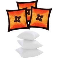 Zikrak Exim Button Flower Cushion With Fillers Orange & Brown (6 Pcs Set)