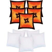 Zikrak Exim Button Flower Cushion With Fillers Orange & Brown (10 Pcs Set)