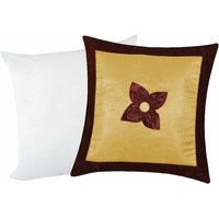 Zikrak Exim Button Flower Cushion With Filler Beige & Brown (2 Pcs Set)