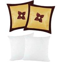 Zikrak Exim Button Flower Cushion With Fillers Beige & Brown (4 Pcs Set)
