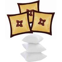 Zikrak Exim Button Flower Cushion With Fillers Beige & Brown (6 Pcs Set)