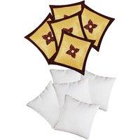 Zikrak Exim Button Flower Cushion With Fillers Beige & Brown (10 Pcs Set)