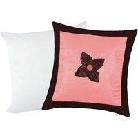 Zikrak Exim Button Flower Cushion With Filler Pink & Brown (2 Pcs Set)