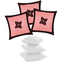 Zikrak Exim Button Flower Cushion With Fillers Pink & Brown (6 Pcs Set)