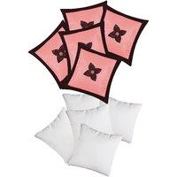 Zikrak Exim Button Flower Cushion With Fillers Pink & Brown (10 Pcs Set)