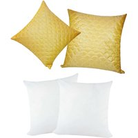 Zikrak Exim Square Quilting Cushion With Fillers Yellow (4 Pcs Set)